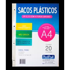 SACO PLAST 4 FUROS A4 230x300 PP GROSSO 0,10 - PACOTE COM 20 UN