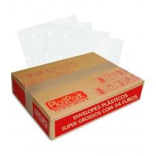 SACO PLAST 4 FUROS OFICIO 240x320 PEBD SUPER GROSSO 0,15 - CAIXA COM 400 UN