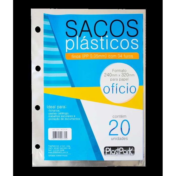 SACO PLAST 4 FUROS A4 240x320 PP FINO 0,06 - PACOTE COM 20 UN