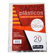 SACO PLAST 4 FUROS A4 240x320 PP GROSSO 0,10 - PACOTE COM 20 UN