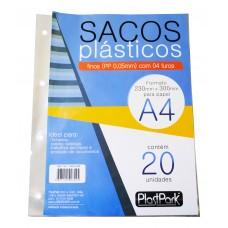 SACO PLAST 4 FUROS A4 230x300 PP FINO 0,06 - PACOTE COM 20 UN