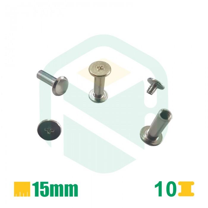 Parafusos para encadernação, 15mm - 100 Unid.