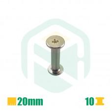 Parafusos para encadernação, 20mm - 10 Unid.