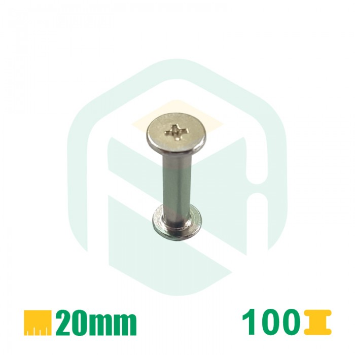 Parafusos para encadernação, 20mm - 100 Unid.